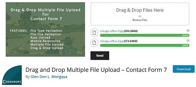 download page for the wordpresss file upload plugin drag and drop multiple file upload for contact form seven