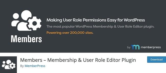 WordPress membership plugin: Members