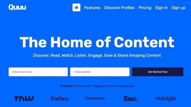 Content curation tool Quuu