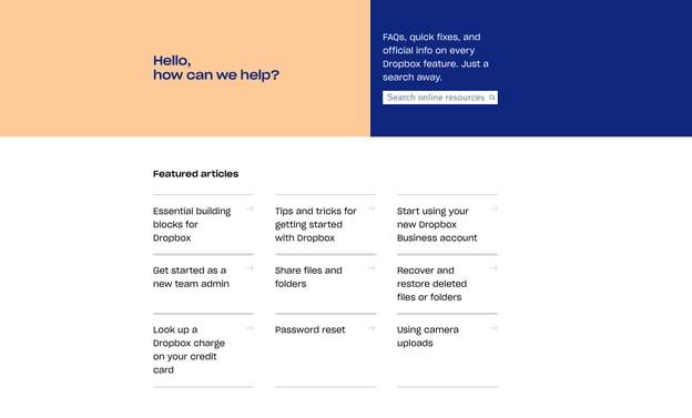 best FAQ pages: Dropbox