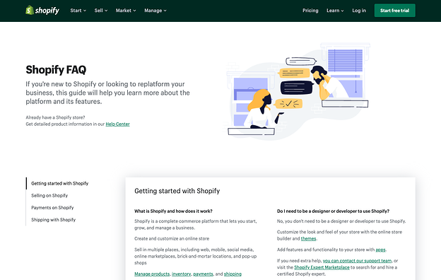 best FAQ pages: Shopify