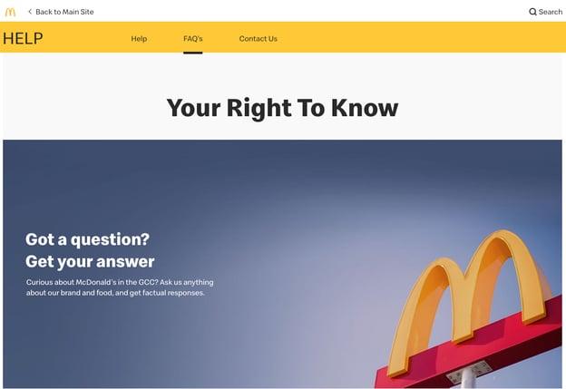 best FAQ pages: McDonald's UK