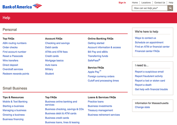 best FAQ pages: Bank of America