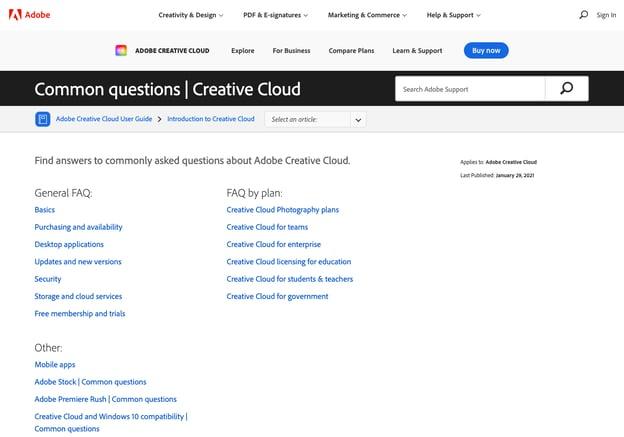 best FAQ pages: Adobe Creative Cloud