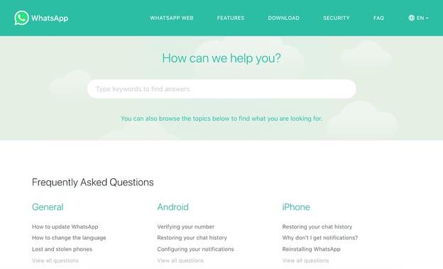 best FAQ pages: WhatsApp