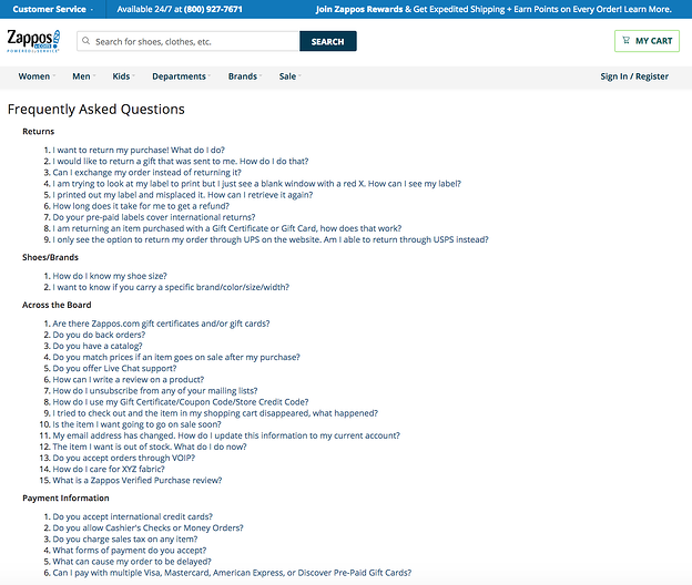 best FAQ pages: Zappos
