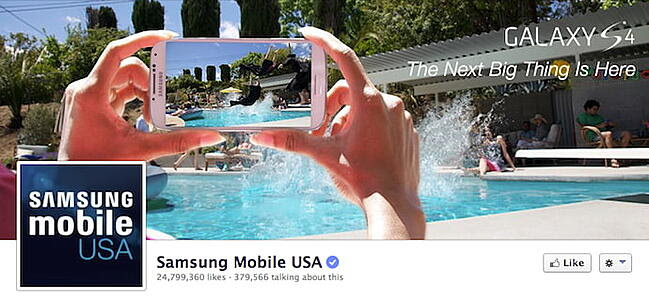 Samsung's old Facebook cover with important elements on the left