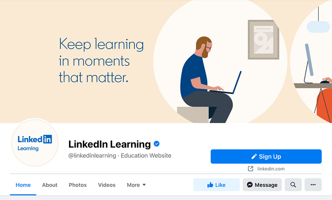 Facebook Cover photo example for LinkedIn Learning