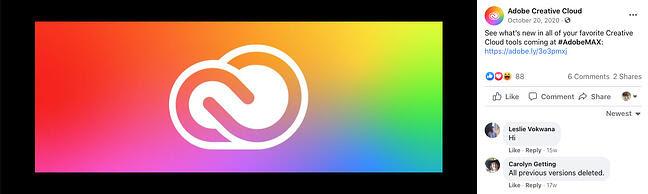 Adobe Creative Cloud Facebook cover with a CTA link in the description