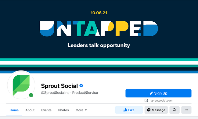 Facebook cover photo example featuring Sprout Social