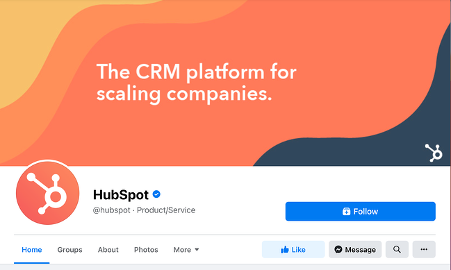 Facebook cover photo example featuring HubSpot's facebook page