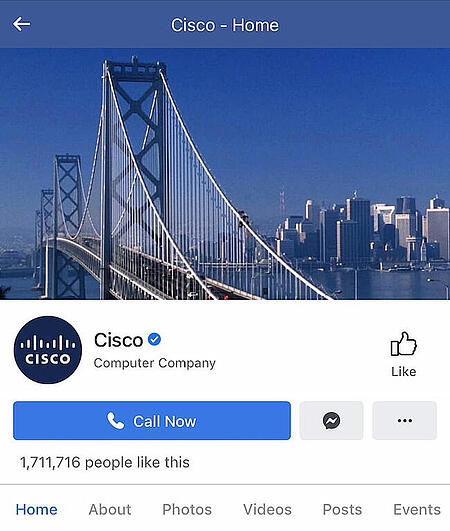 Cisco's Facebook cover on the mobile website