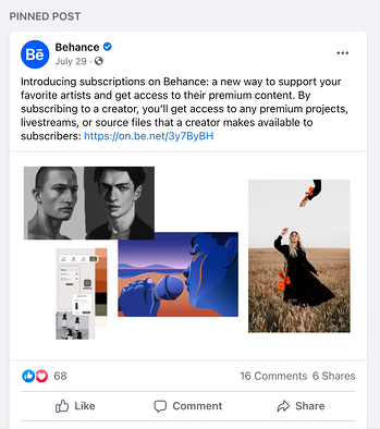 Example of pinning a related post below a Facebook cover image featuring Behance's Facebook page.