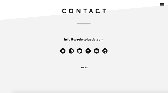 We Ain't Platic's minimalist website footer offers several ways for users to connect withRoland Lösslein