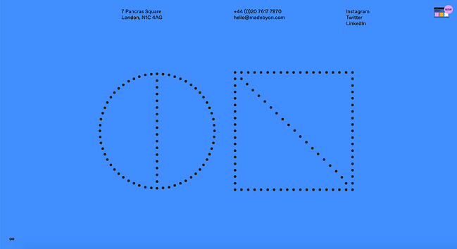 Minimalist website ON features a bit of black text against solid blue background