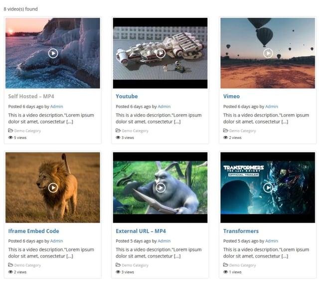 wordpress gallery plugin example: all-in-one video gallery