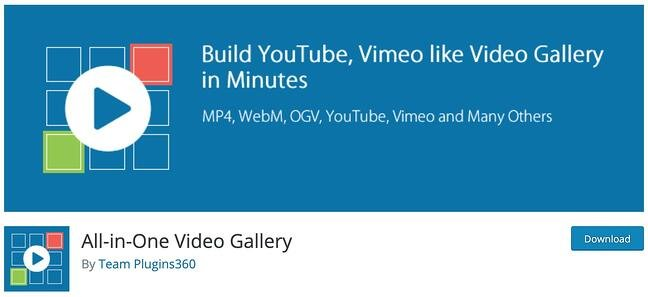 product page for the wordpress gallery plugin all in one video gallery
