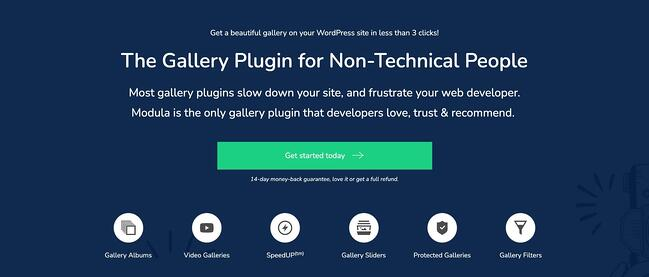 product page for the wordpress gallery plugin modula