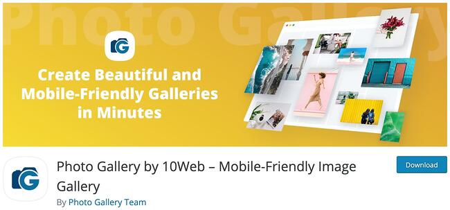 product page for the wordpress gallery plugin photo gallery by 10web