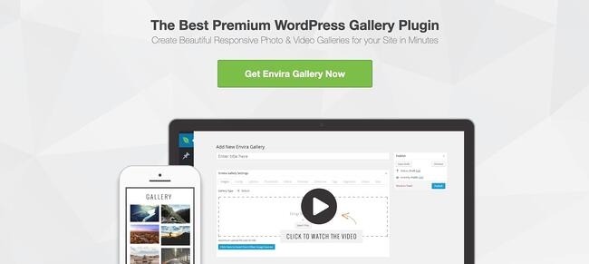 product page for the wordpress gallery plugin envira gallery