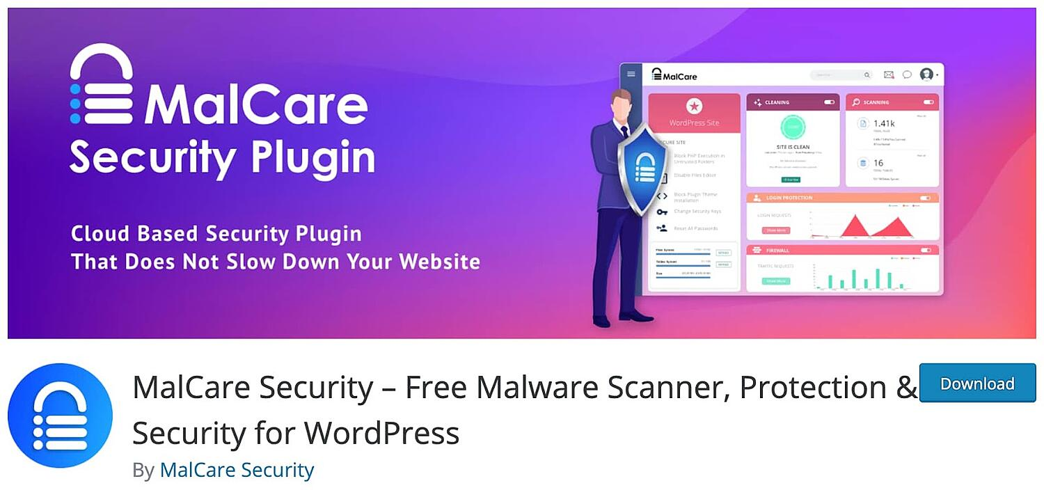 listing page for the WordPress security plugin MalCare Security