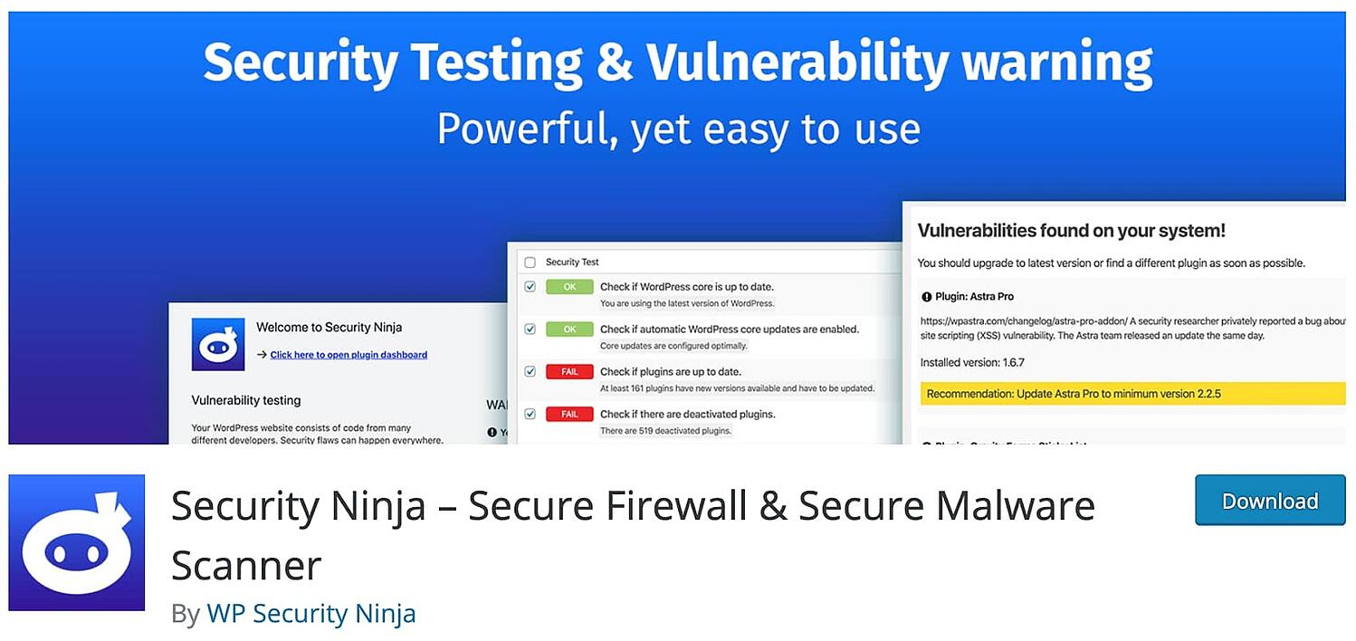 listing page for the WordPress security plugin Security Ninja