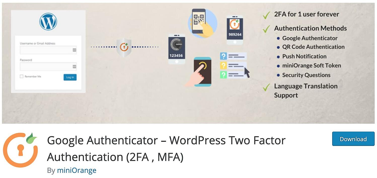 listing page for the WordPress security plugin Google Authenticator by miniOrange