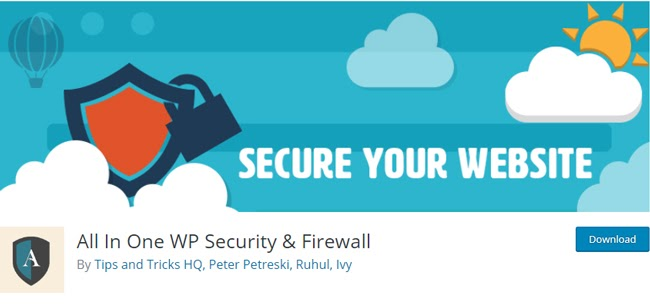 listing page for the WordPress security plugin All In One WP Security & Firewall
