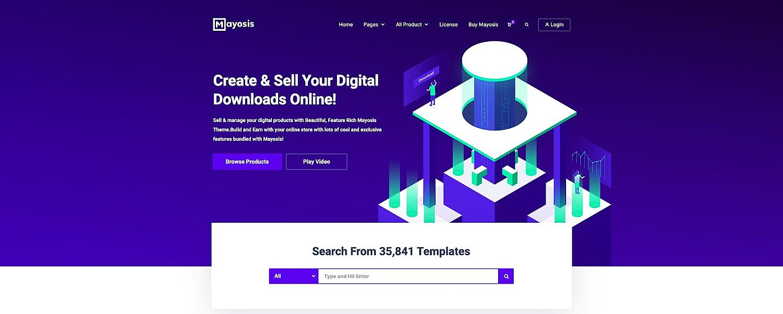 demo for the digital downloads wordpress theme Mayosis