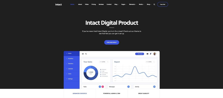 demo for the digital downloads wordpress theme Intact