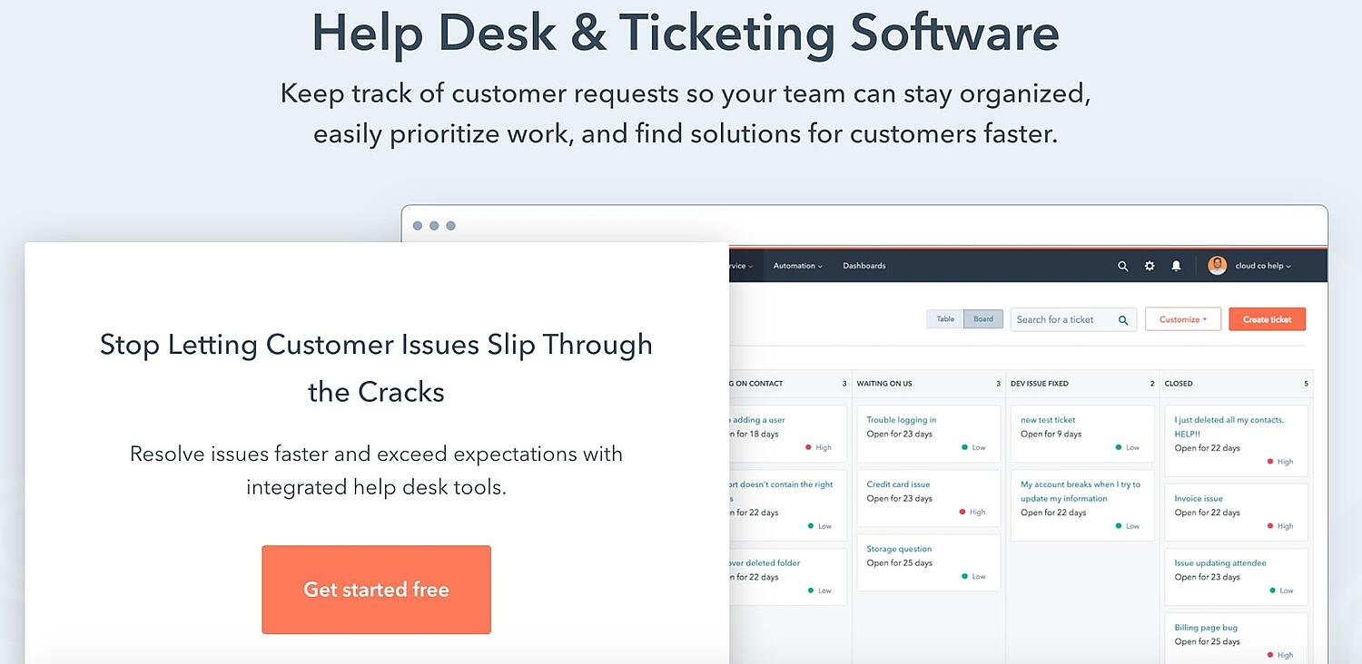 hubspot Example of Help Desk CS Technology