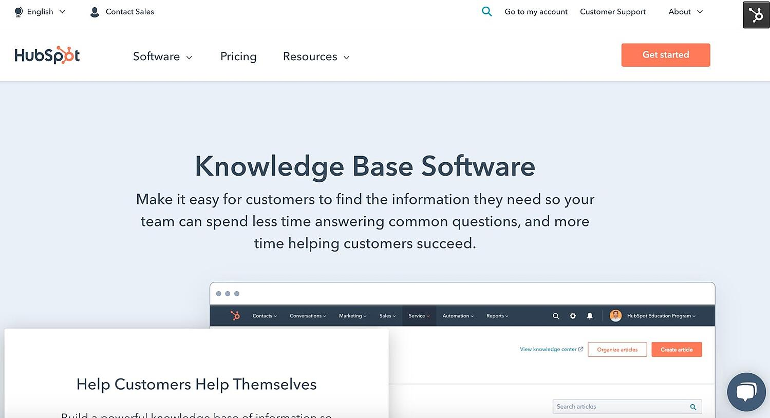 HubSpot Example of Knowledge Base Software CS Technology