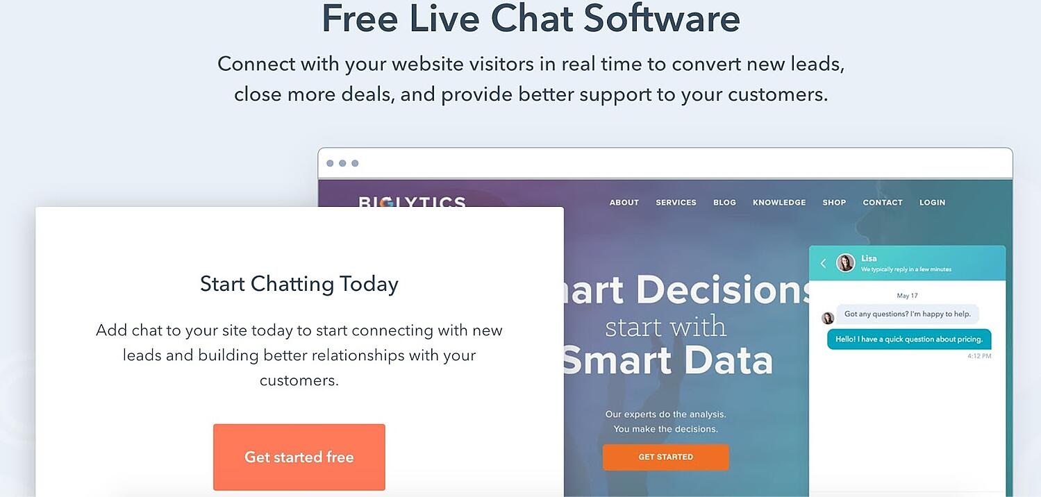 hubspot Example of Live Chat CS Technology