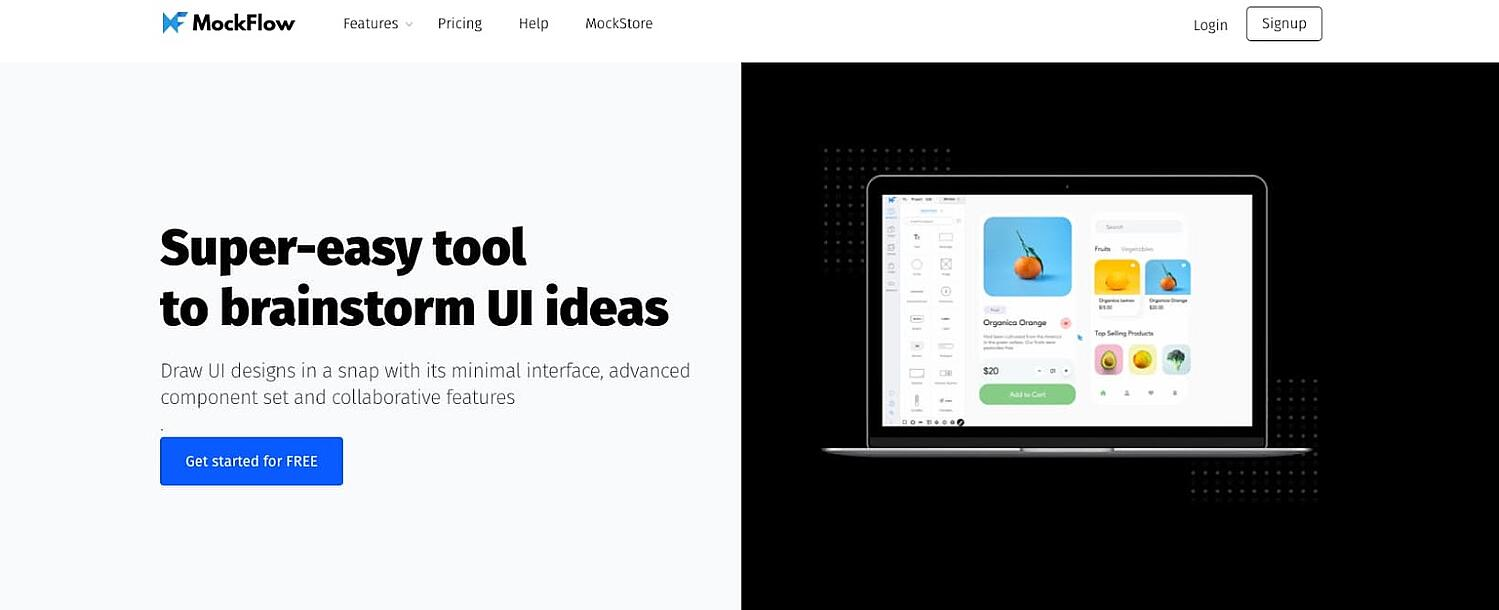 product page for the wireframe tool MockFlow