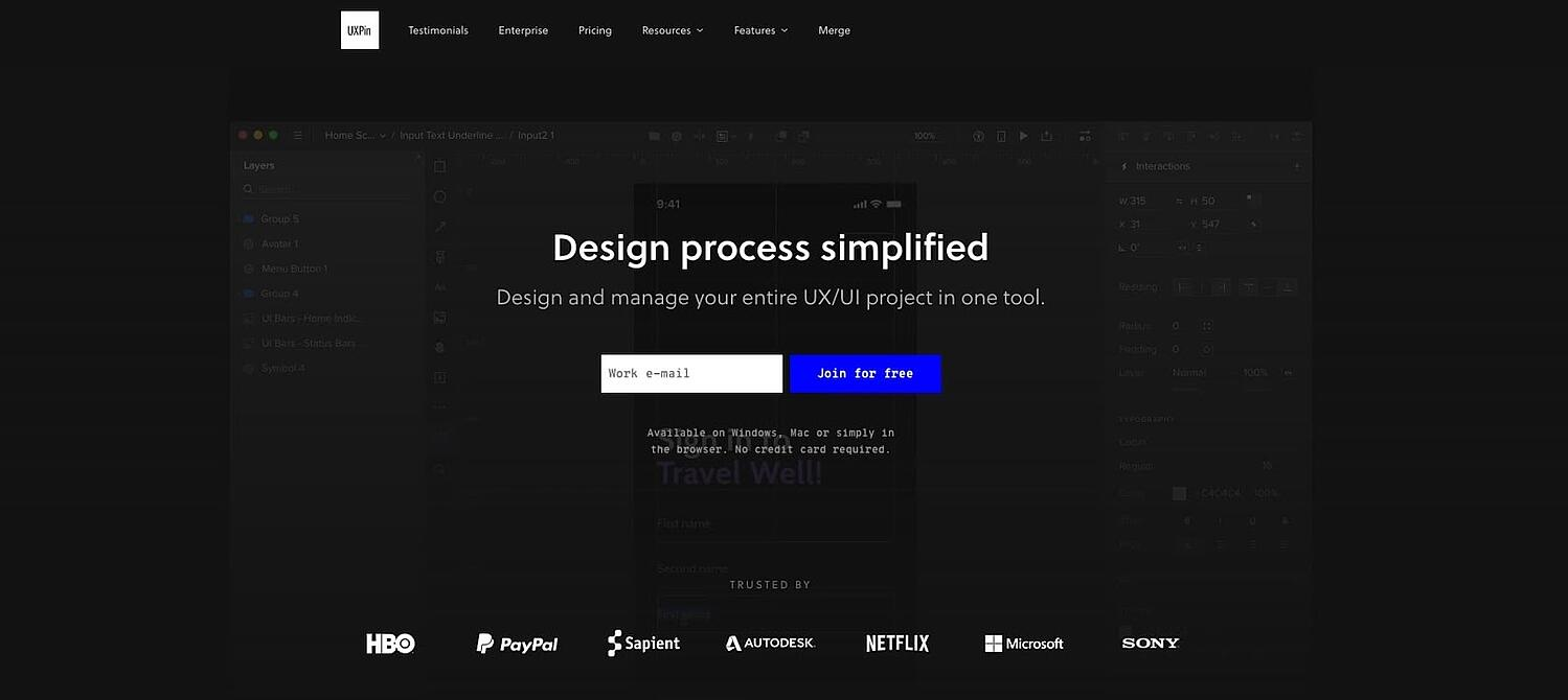 product page for the wireframe tool UXPin