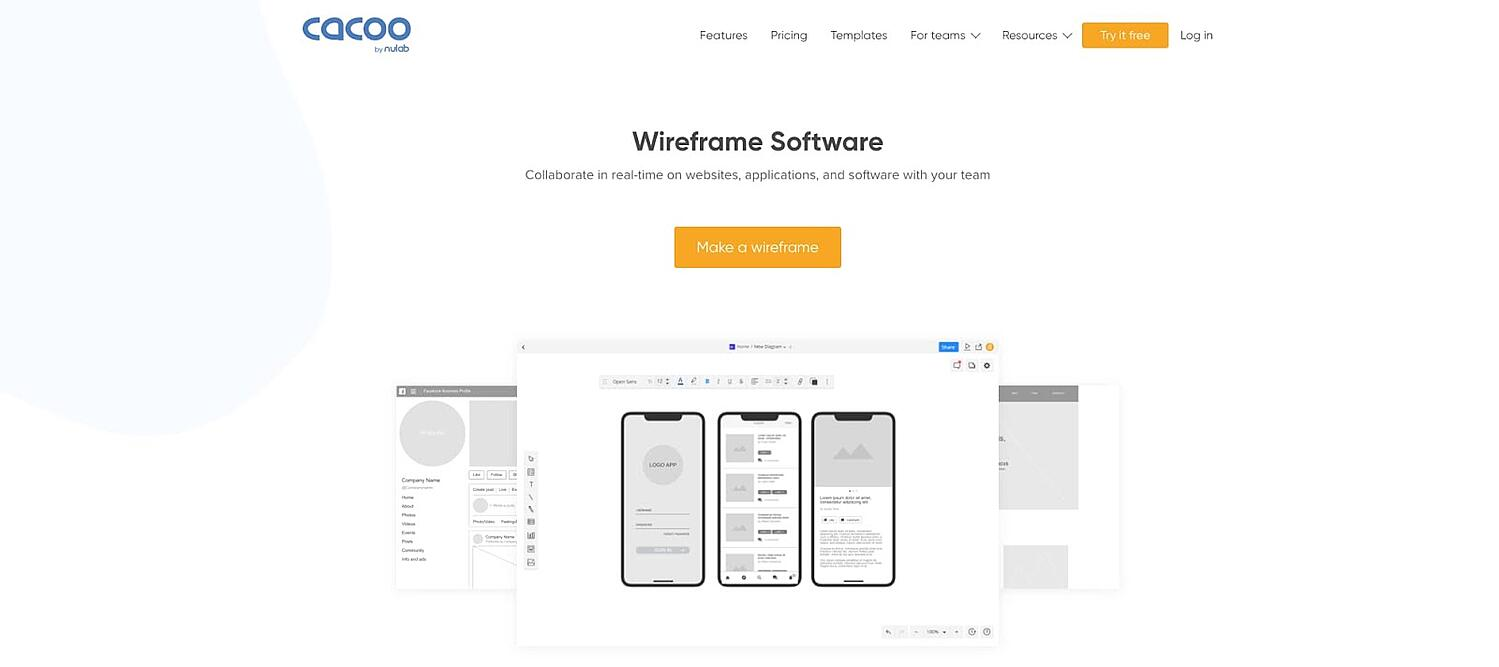 product page for the wireframe tool Cacoo