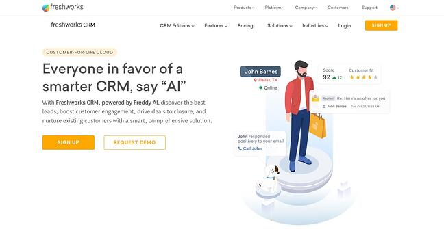 product page for the wordpress crm plugin Freshworks CRM