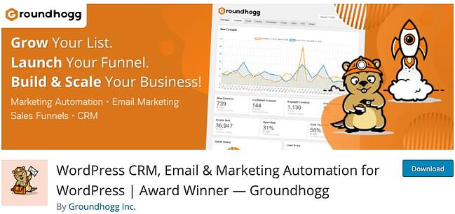 product page for the wordpress crm plugin Groundhogg