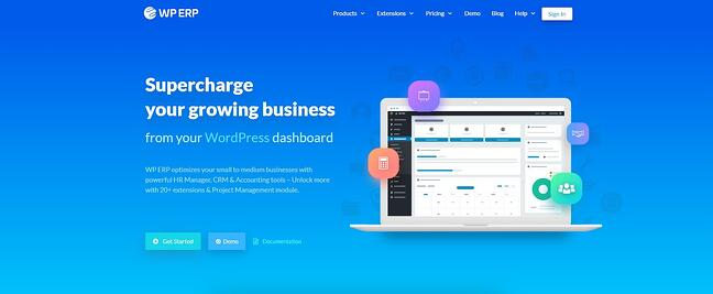 product page for the wordpress crm plugin WP ERP