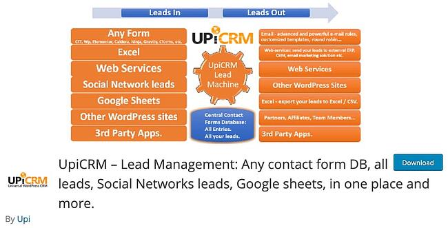 product page for the wordpress crm plugin UpiCRM