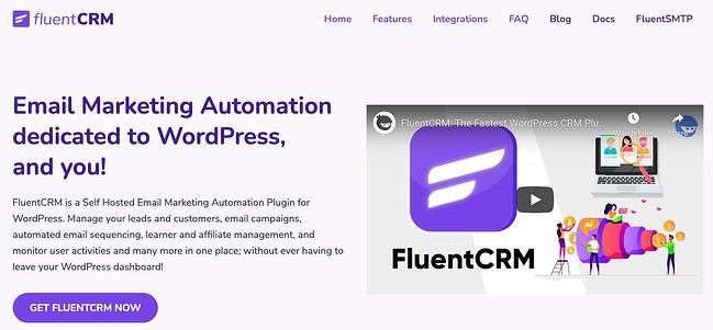 product page for the wordpress crm plugin fluent CRM