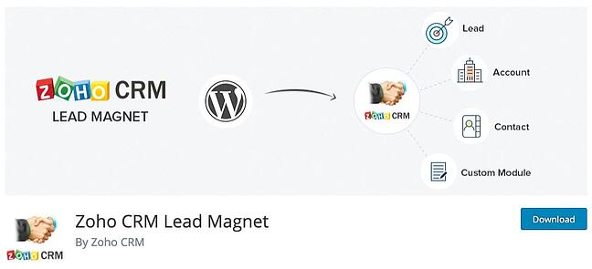 product page for the wordpress crm plugin ZOHO CRM lead magnet