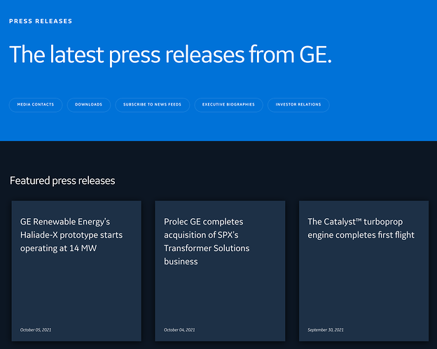 Press Page Example: GE