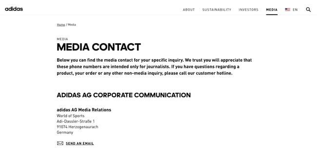 Press Page Example: Adidas