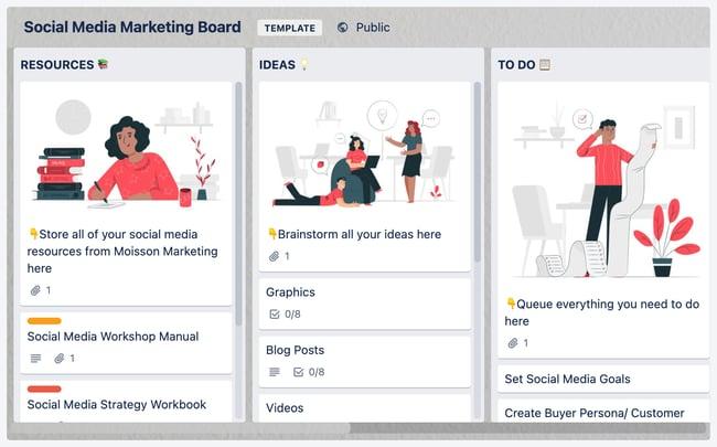 social media calendar tools: Trello