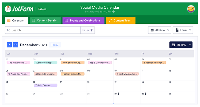 social media calendar tools: JotForm