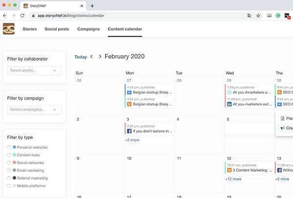social media calendar tools: StoryChief