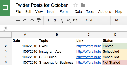 Social media calendar ideas listed on Google Sheets
