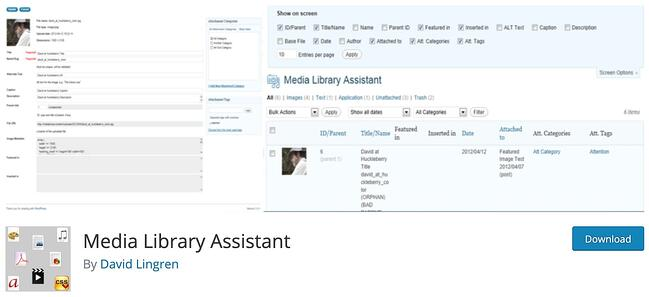 download page for the wordpress media management plugin media library assistant