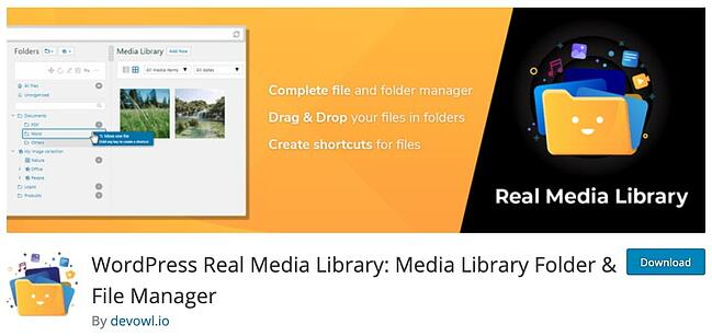 download page for the wordpress media management plugin real media library